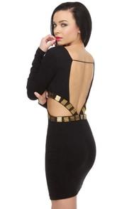 On the Side Beaded Black Dress
