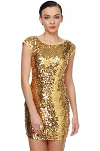 Glitter-Chatter Gold Sequin Dress
