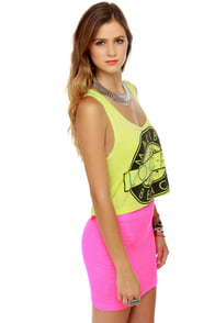 Local Celebrity Malibu Neon Yellow Crop Top at Lulus.com!