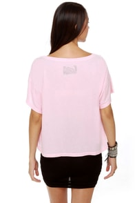 Local Celebrity Lipstick Print Pink Crop Top at Lulus.com!