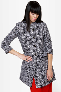 Streetcar Chic Black and White Jacquard Coat