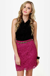 Romantic Getaway Magenta Lace Skirt