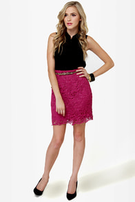 Romantic Getaway Magenta Lace Skirt at Lulus.com!