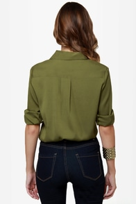 Daily Grind Olive Green Button-Up Top at Lulus.com!