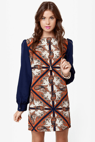 British Invasion Blue Scarf Print Shift Dress