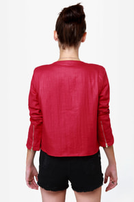 Drawstring Section Cropped Red Jacket at Lulus.com!