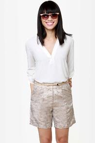 Fancy Pants Gold Brocade Shorts