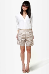 Fancy Pants Gold Brocade Shorts at Lulus.com!