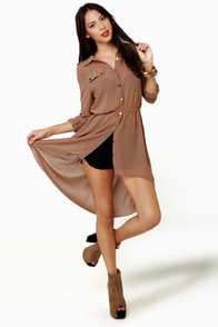 Double Date Sheer Brown Tunic Top