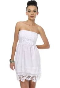 Dear Unicorn Strapless White Dress