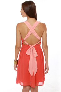 Melon Patch Coral Color Block Dress at Lulus.com!