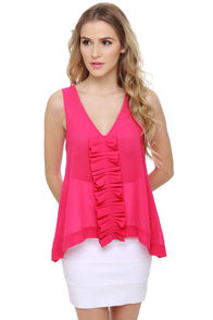 Through the Ruffle Patch Fuchsia Pink Tank Top