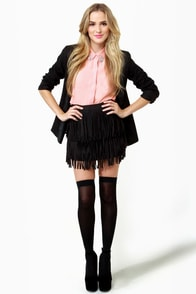 Start Your Fringe-ines! Black Fringe Mini Skirt at Lulus.com!