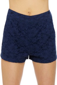 Tulle Short-Listed Navy Blue Lace Shorts at Lulus.com!