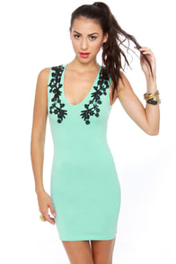 Motel Julie Black and Mint Green Dress