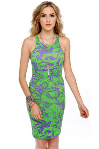 Motel Rowena Purple and Lime Green Print Dress