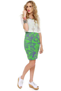 Motel Rowena Purple and Lime Green Print Dress at Lulus.com!