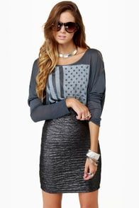 Motel Sabrina Crushed Pewter Pencil Skirt