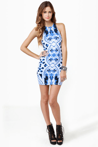 Motel Zena Gothic Placement Print Dress