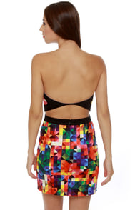 Motel Zahara Strapless Kaleidoscope Print Dress at Lulus.com!