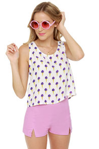 Motel Ice Cream Print Crop Top