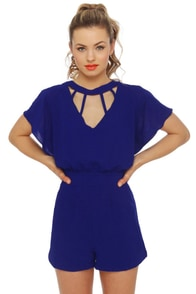 Saturday Bright Fever Royal Blue Romper