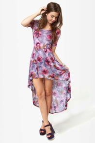 Wildflower Hunt Purple Floral Print Dress