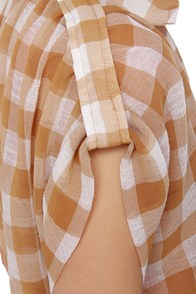Checkered Blast Brown Plaid Top at Lulus.com!