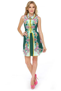 Summer of Love Green Paisley Print Dress at Lulus.com!