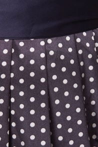 String of Pearls Navy Blue Polka Dot Dress