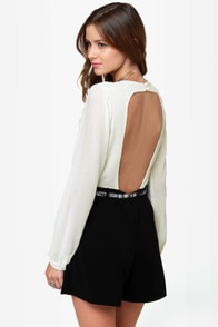 Top Shelf Backless Cream and Black Romper at Lulus.com!