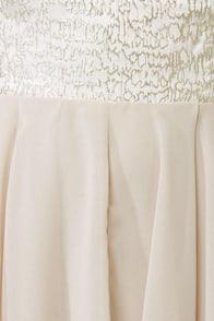 Nouveau Riche Gold and Beige Brocade Dress at Lulus.com!