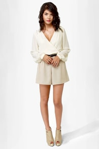 One For All Backless Cream Romper