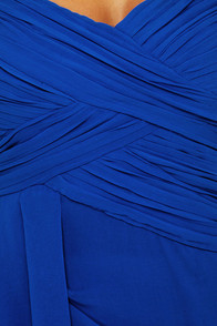 Midnight Masquerade Strapless Royal Blue Dress