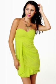 Midnight Masquerade Strapless Chartreuse Dress