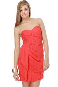 Midnight Masquerade Strapless Coral Dress