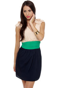 On a Whim Blue Color Block Dress at Lulus.com!