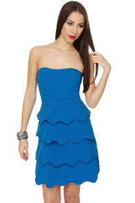 Wavy Train Strapless Blue Dress