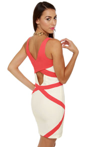Hot Lines Coral and White Dress at Lulus.com!