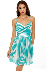 Divine Lines Aqua Blue Striped Dress