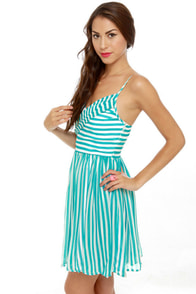 Divine Lines Aqua Blue Striped Dress at Lulus.com!