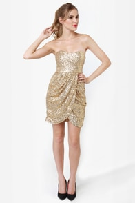 Sequin-tessential Strapless Gold Sequin Dress at Lulus.com!