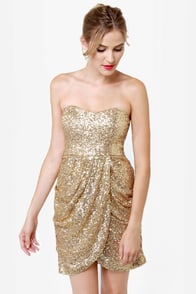 Sequin-tessential Strapless Gold Sequin Dress