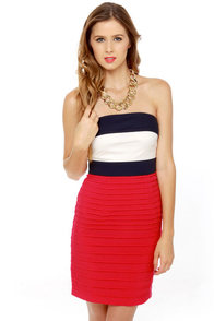 Ferry Tales Strapless Color Block Dress at Lulus.com!