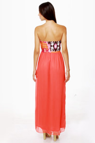 Skip to My Luau Strapless Coral Red Maxi Dress at Lulus.com!