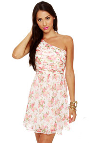 At Glitz End One Shoulder Floral Print Dress