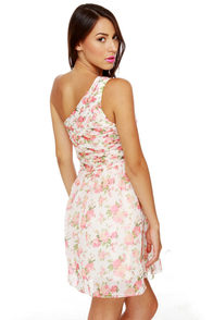 At Glitz End One Shoulder Floral Print Dress at Lulus.com!