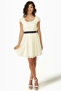 Moonbeams in a Jar Cream Lace Dress