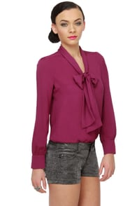 Office Envy Long Sleeve Magenta Top