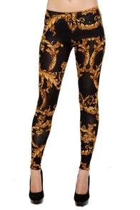 Going for Baroque Black Print Leggings at Lulus.com!
